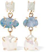 Melissa Joy Manning 14-karat Gold, Aqua And Pearl Earrings - one size