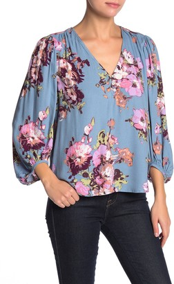 Love Stitch Floral Blouson Sleeve Top