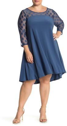 Nina Leonard Hi/Lo 3/4 Sleeve Trapeze Dress