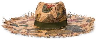 Etro Printed raffia hat