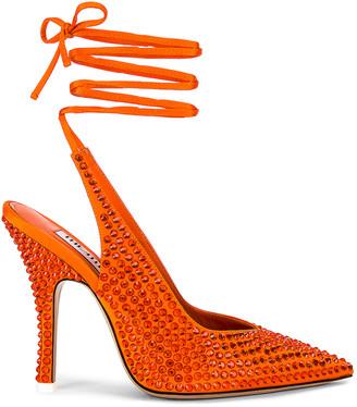 ATTICO Satin High Heel Slingback in Orange | FWRD