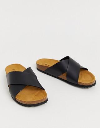 Office Hoxton black slider sandals
