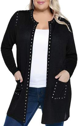 Belldini Plus Rhinestone-Trimmed Metallic Cardigan