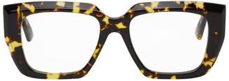 Bottega Veneta Tortoiseshell Rectangular Angular Glasses
