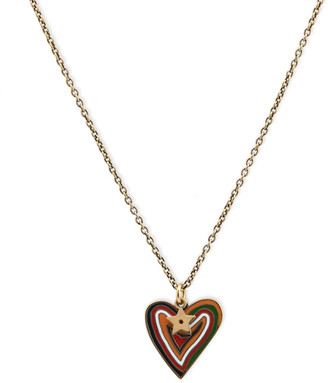 Christian Dior Enamel Heart Pendant Necklace