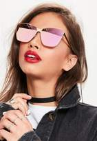 Missguided Rose Gold Cat Eye Frame Mirrored Sunglasses