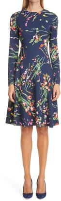 Lela Rose Wildflower Print Long Sleeve Tiered Crepe Dress