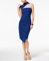 Jax Asymmetrical Crepe Illusion Midi Sheath Dress