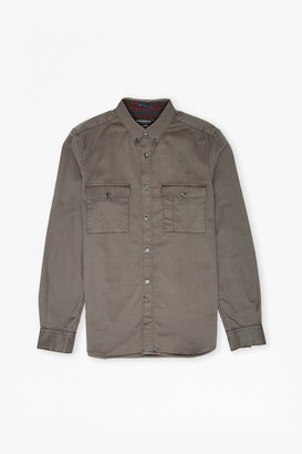 French Connection Stretch Twill and Tartan Shirt