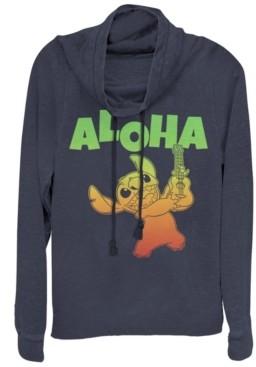Fifth Sun Women's Disney Lilo Stitch Aloha Stitch Fleece Cowl Neck Sweatshirt