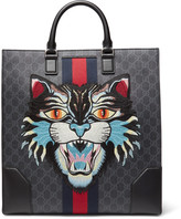 Gucci Leather-Trimmed Appliquéd Monogrammed Coated-Canvas Tote Bag