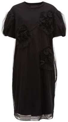 Simone Rocha Tulle-overlay Floral Cotton Dress - Womens - Black