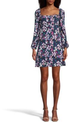 Nicole Miller Midnight Floral Square Neck Mini Dress