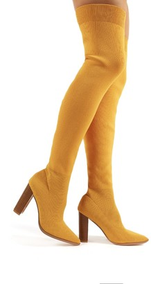 Public Desire Romee Mustard Knitted Block Heeled Over the Knee Boots