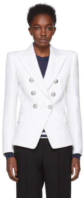 Balmain White Six-Button Blazer