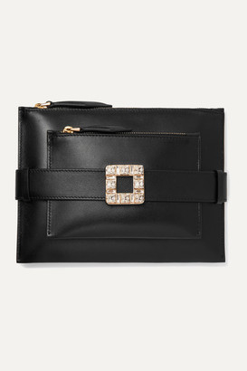 Roger Vivier Convertible Crystal-embellished Leather Clutch - Black