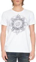 Balmain Short-Sleeve Medallion Logo Tee, White
