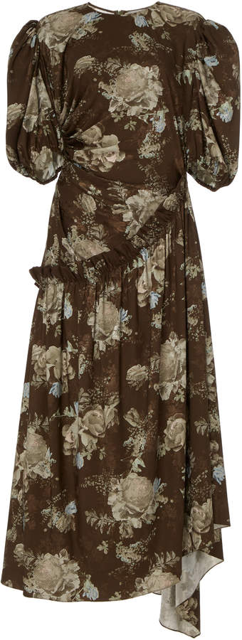 Preen by Thornton Bregazzi Ophelie Floral-Print Jersey Midi Dress Size