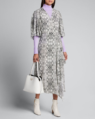 Les Rêveries Flutter-Sleeve Snake-Print Long Wrap Dress