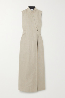 Ganni Belted Linen Wrap Dress - Beige