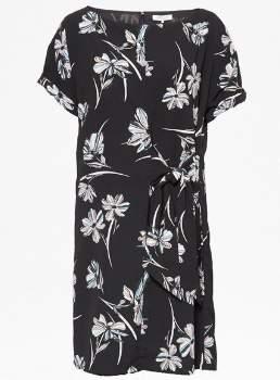 Great Plains Camilla Tie Dress - LARGE - Blue/Black/White