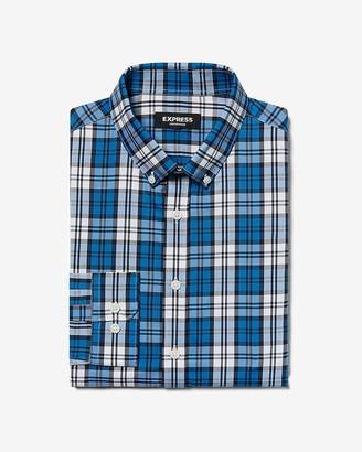 Express Classic Plaid Button-Down Wrinkle-Resistant Performance Dress Shirt