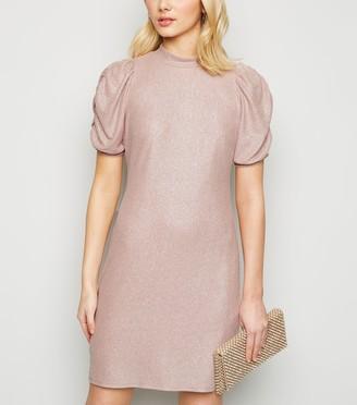 New Look Glitter Puff Sleeve High Neck Dress