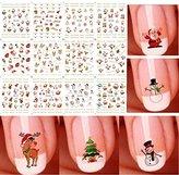 Bhbuy Christmas Snowflakes Snowmen 3D Nail Art Stickers