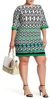 Eliza J Geo Print Jersey Shift Dress (Plus Size)
