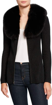 Neiman Marcus Zip-Front Cashmere Rib Sweater with Fur Collar