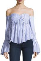 Caroline Constas Max Off-the-Shoulder Bell-Sleeve Striped Poplin Top