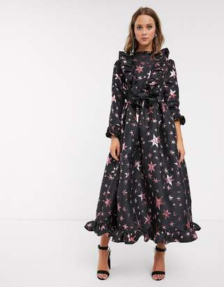 Sister Jane midaxi dress with fuffle front and full skirt in star jacquard-Black