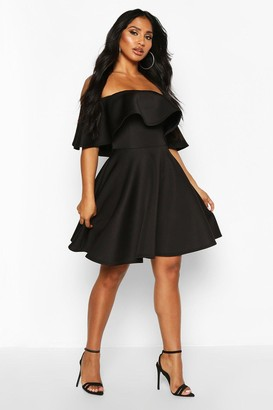 boohoo Bonded Scuba Off The Shoulder Frill Skater Dress