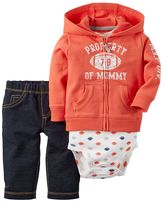 Carter's Baby Boy Football Graphic Cardigan, Bodysuit & Jeggings Set