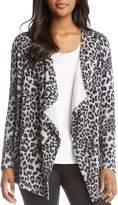 Karen Kane Leopard-Print Fleece Open Cardigan