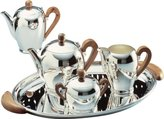 Alessi Bombe Teapot with Applewood Handle Silver