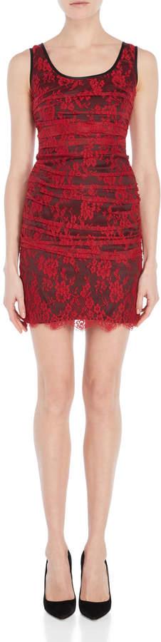 Dolce & Gabbana Raspberry Red Ruched Lace Mini Dress