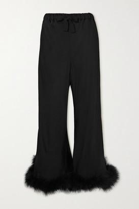 Sleeper Boudoir Feather-trimmed Satin Pants - Black
