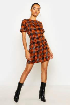 boohoo Check Print Shift Dress