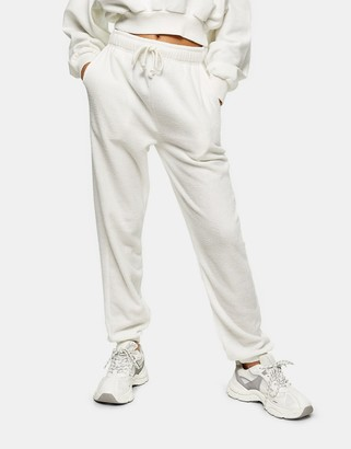 Topshop towelling trackies in white