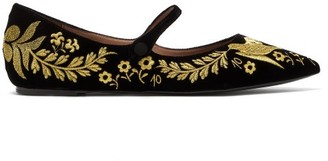 Tabitha Simmons Hermione Floral-embroidered Velvet Mary-jane Flats - Womens - Black Gold