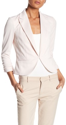 Amanda & Chelsea Notch Lapel 3/4 Sleeve Pique Knit Blazer
