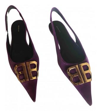 Balenciaga BB Purple Velvet Ballet flats