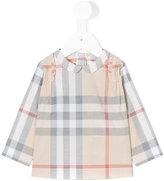 Burberry checked peter pan collar shirt - kids - Cotton - 9 mth