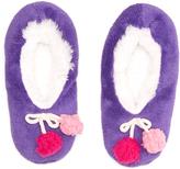 Purple Pom-Pom Slipper Socks