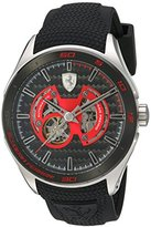 Ferrari Men's Mechanical Hand Wind Stainless Steel and Silicone Casual Watch, Color:Black (Model: 830348)