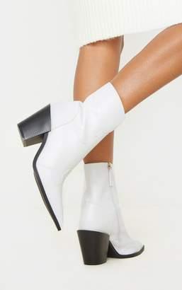 PrettyLittleThing Black Point Toe Western Heel Ankle Boot