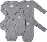 Burt's Bees Baby 5 Pack Essentials Solid LS Bodysuits (Baby)-Gray-Preemie