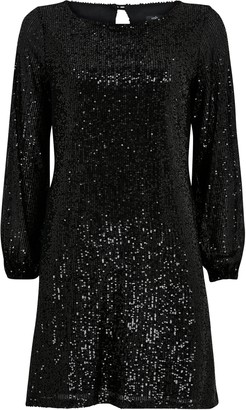 Wallis PETITE Black Sequin Long Sleeve Dress