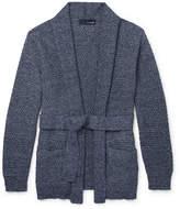 Lardini Mélange Waffle-Knit Cotton-Blend Cardigan